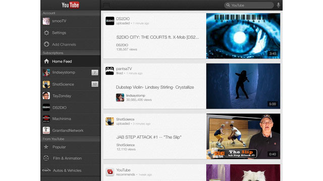 PHOTO: The YouTube app for the iPad was redesigned in Dec. 2012.