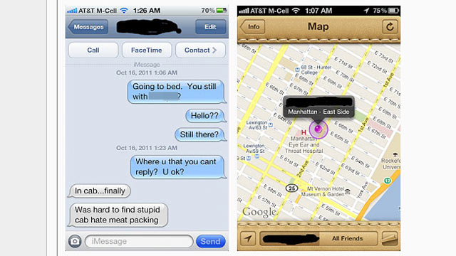 "PHOTO: A man has posted a screen shot that he says is proof of his wife cheating, which he alleges he discovered through the new ""Find My Friends"" iPhone 4s app."