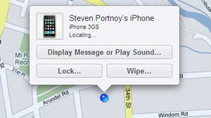 "PHOTO A screen grab is shown from the ""Mobile Me"" iPhone application that assists users in finding their lost iPhones."