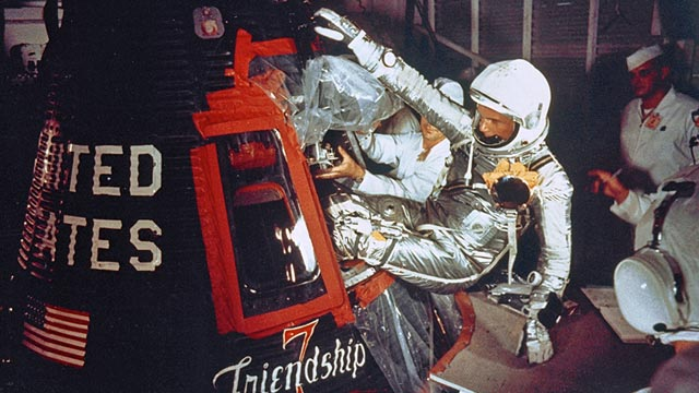 PHOTO: John Glenn climbs into Friendship 7