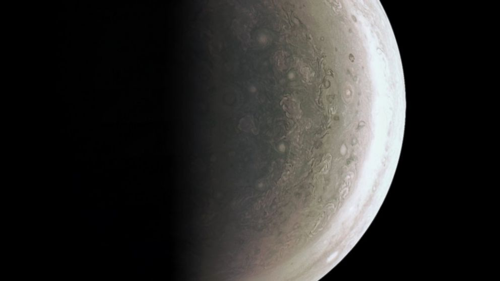 The JunoCam instrument acquired this view of Jupiter's south polar region about an hour after closest approach on Aug. 27, 2016, when the spacecraft was about 58,700 miles above the cloud tops.