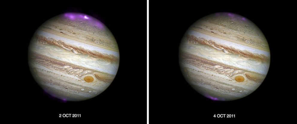 "PHOTO: According to NASA, solar storms are creating X-ray auroras on Jupiter that are ""about eight times brighter than normal over a large area of the planet and hundreds of times more energetic than Earth's northern lights."""