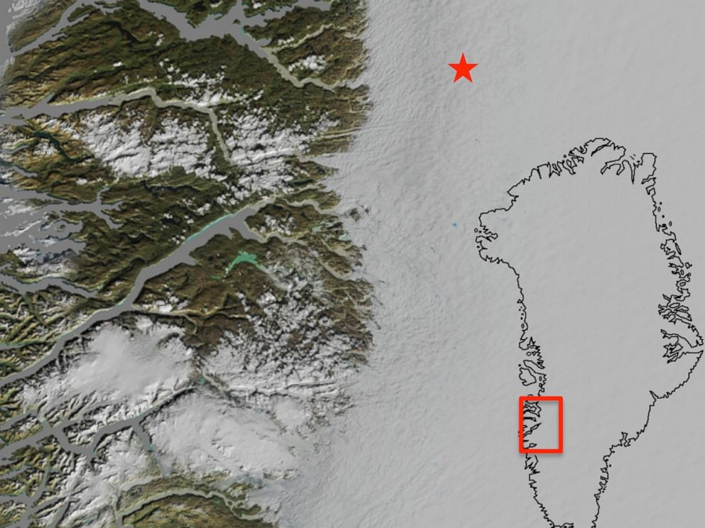 PHOTO: A map of a portion of southwest Greenland is pictured.