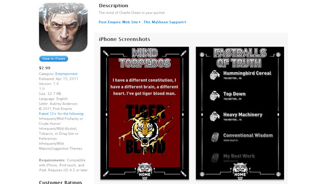 """PHOTO:Charlie Sheen debuts """"The Masheen"""" iPhone app on iTunes."""