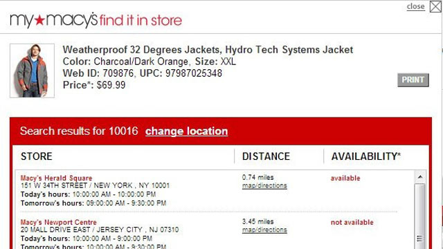 PHOTO: Macy.com showed a jacked for $69.99 on its website; it was sold in store for $112.