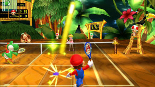 "PHOTO: A scene from the new Nintendo 3DS game "" Mario Tennis Open."""