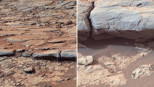 "PHOTO: NASAs Curiosity Mars rover provided images of the lower stratigraphy at ""Yellowknife Bay"" inside Gale Crater on Mars which showed veins and concretions strongly suggest precipitation of minerals from water."
