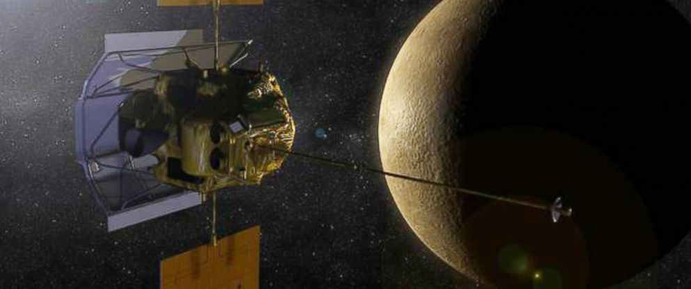 PHOTO: An artist concept of the Messenger spacecraft in orbit around planet Mercury.