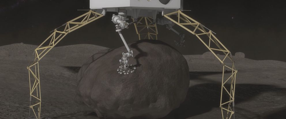 """PHOTO: Once the boulder is secured, the ARV will mechanically push off, or """"hop,"""" from the surface and then use thrusters to ascend from the asteroids surface."""