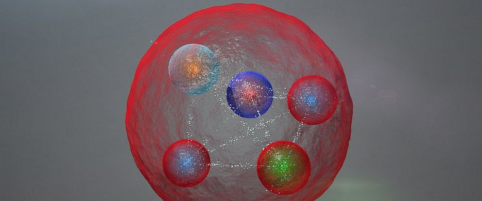 PHOTO: Illustration of the possible layout of the quarks in a pentaquark particle such as those discovered at LHCb.