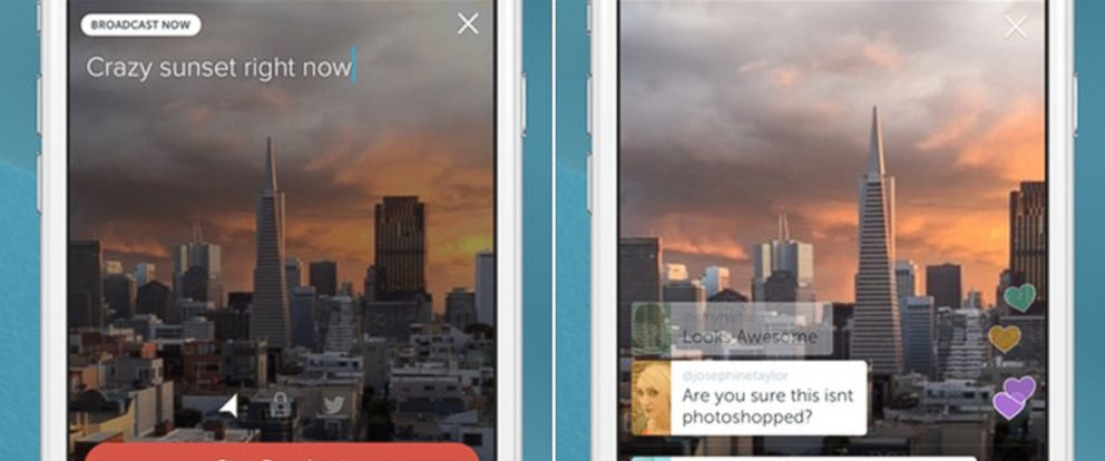 PHOTO: Screengrabs of Periscope are pictured.