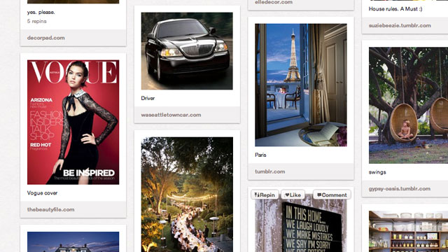 PHOTO: A few life goals pinned to a Pinterest board.