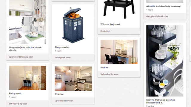 PHOTO: A photo of a new apartment and furniture on a Pinterest board.