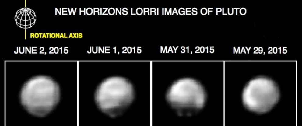"PHOTO: These images, taken by New Horizons' Long Range Reconnaissance Imager, show four different ""faces"" of Pluto as it rotates about its axis with a period of 6.4 days."