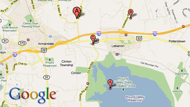 PHOTO: A Google map of Round Valley State Park in New Jersey is seen.