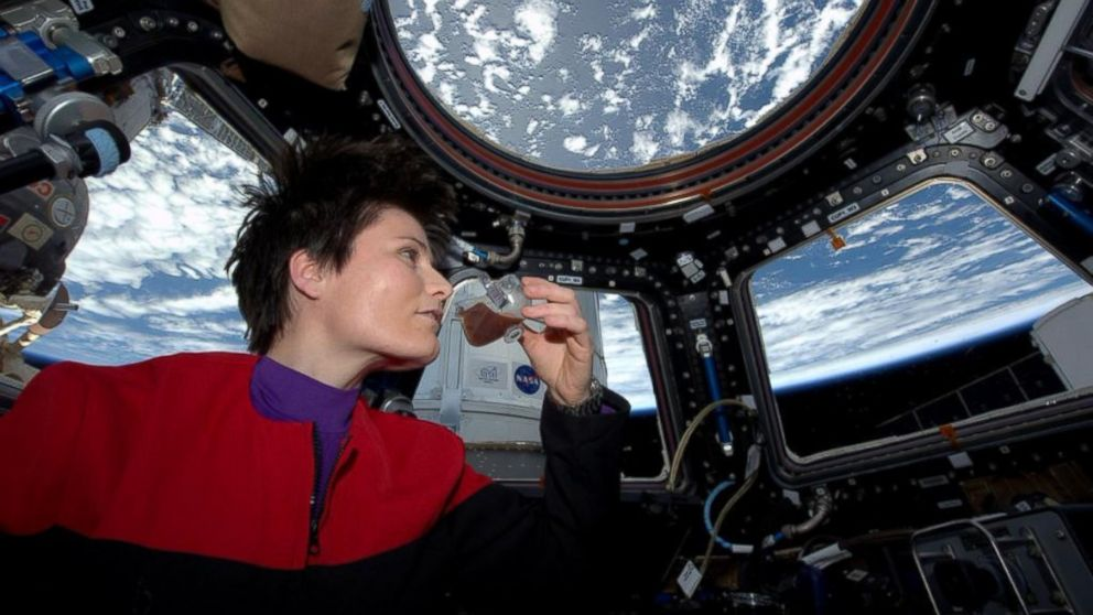 """This image was posted to the Twitter page of Italian astronaut Sam Cristoforetti on May 3, 2015 with the text, """"'Coffee: the finest organic suspension ever devised.' Fresh espresso in the new Zero-G cup! To boldly brew..."""""""