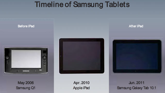 PHOTO: A document shown by Apple in the Apple v. Samsung patent case.