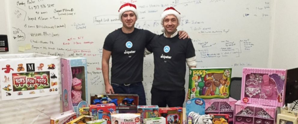 PHOTO: Shipster CEO Christian Vizcaino and co-founder Thomas Maher pose with donated toys.
