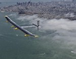 PHOTO: Solar Impulse flies over the San Francisco Bay area before the 6th test flight from Moffett Field to go across America on April 25, 2013.