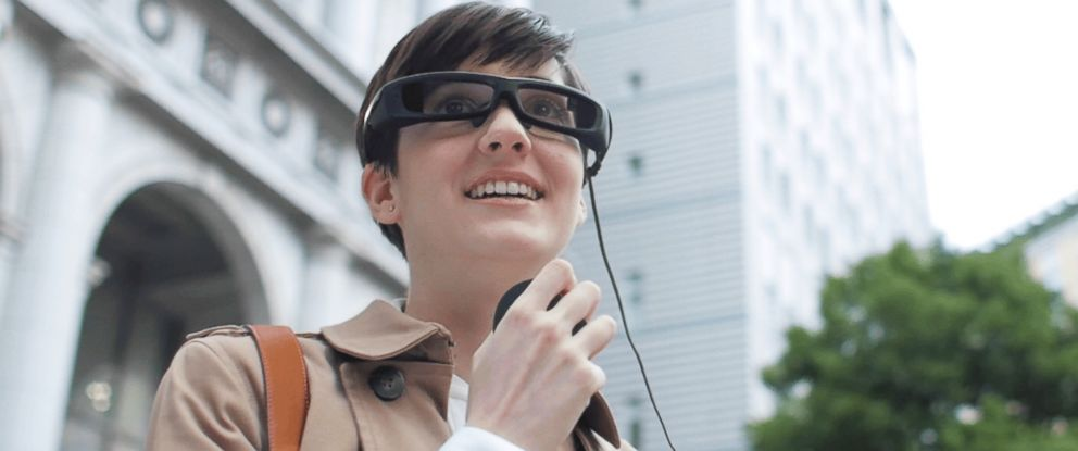 PHOTO: A person is pictured wearing Sonys SmartEyeglass in this image.