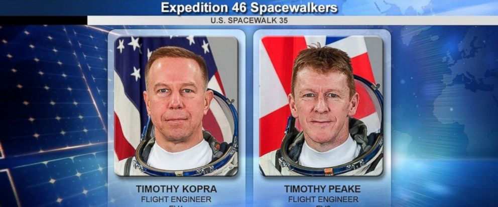 PHOTO: Astronauts Timothy Kopra and Timothy Peake at the International Space Station were scheduled to begin their spacewalk at 7:48am on Jan. 15, 2016.