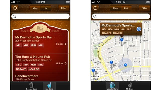 PHOTO: Sportsbar Finder App for iPhone.