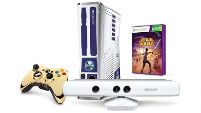 PHOTO: The Kinect Star wars bundle includes an xBox 360, Kinect camera, a Star Wars controller, and the Kinect Stars game.