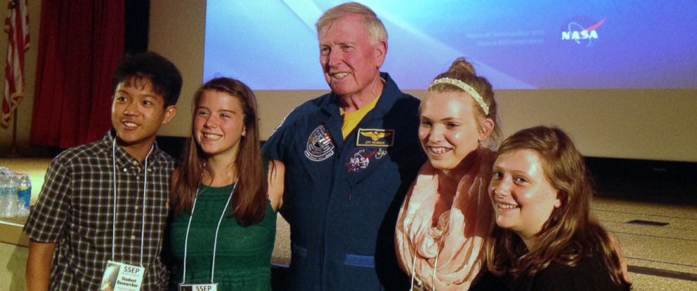 PHOTO: Astronaut Jon McBride is pictured with student researchers Hanson Lam, Keagan Cross, Katherine Redden, and Haley Hill. The students had an experiment on board the SpaceX rocket that exploded on June 28, 2015.