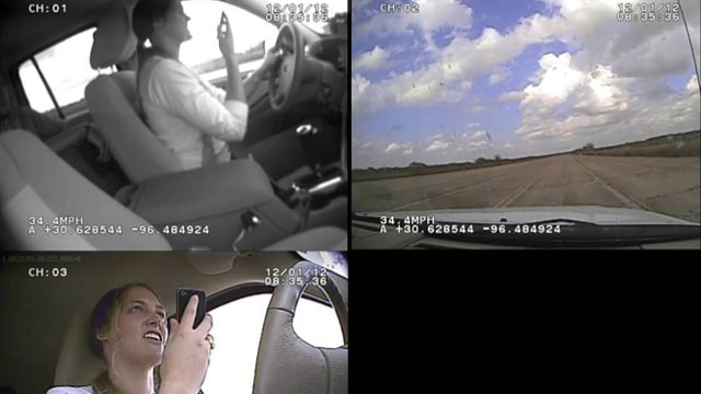 PHOTO: The Texas A&M Transportation Institute took camera positions to record each driving condition in an evaluation of the effectiveness of voice-to-text programs while driving.