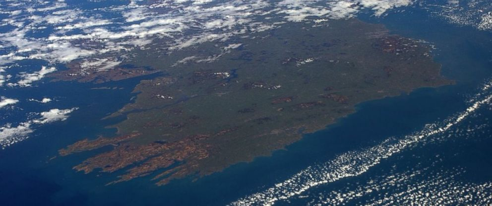"""PHOTO: This image was shared on astronaut Tim Peakes Twitter account on March 17, 2016 with the text, """"The Emerald Isle looking lush and green from space...Happy #StPatricksDay to all down there!"""""""