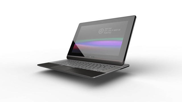 PHOTO: Toshiba showed off a tablet with a slide out keyboard at Computex 2012 in Taipei.