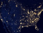 """PHOTO: This image of the U.S. at night is a composite assembled from data acquired by the Suomi NPP satellite, April and October, 2012, made possible by the satellites """"day-night band"""" of the Visible Infrared Imaging Radiometer Suite (VIIRS), which detec"""