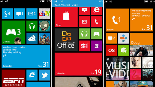 PHOTO: Microsofts Windows Phone 8 operating system, which includes Skype integration and a new homescreen, is pictured.