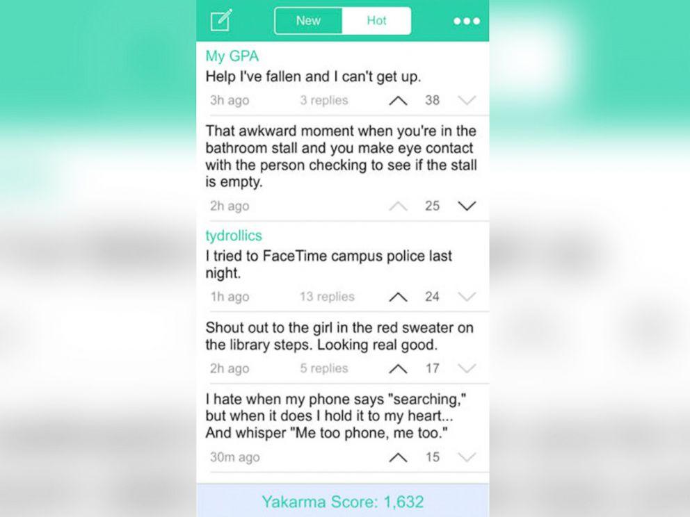 PHOTO: Screenshot of the Yik Yak social media app for smartphones.