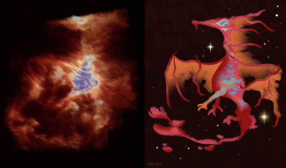 PHOTO: A screenshot from the Orion 3D video shows Orions dragon on the left and an artists conception of the dragon on the right.