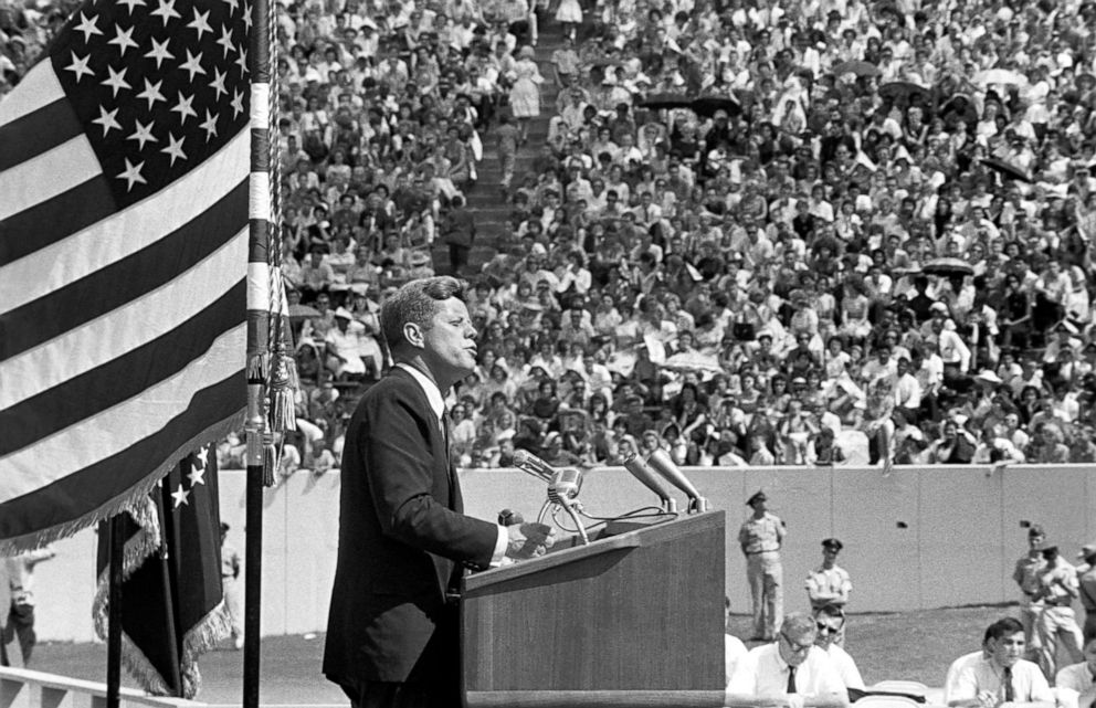 PHOTO: President Kennedy gives his Race for Space speech at Houstons Rice University. Texas, Sept. 12, 1962.