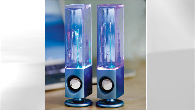 PHOTO: Its the esthetics, not the sound, that makes the Soundmaster Dancing Water Speakers cool.