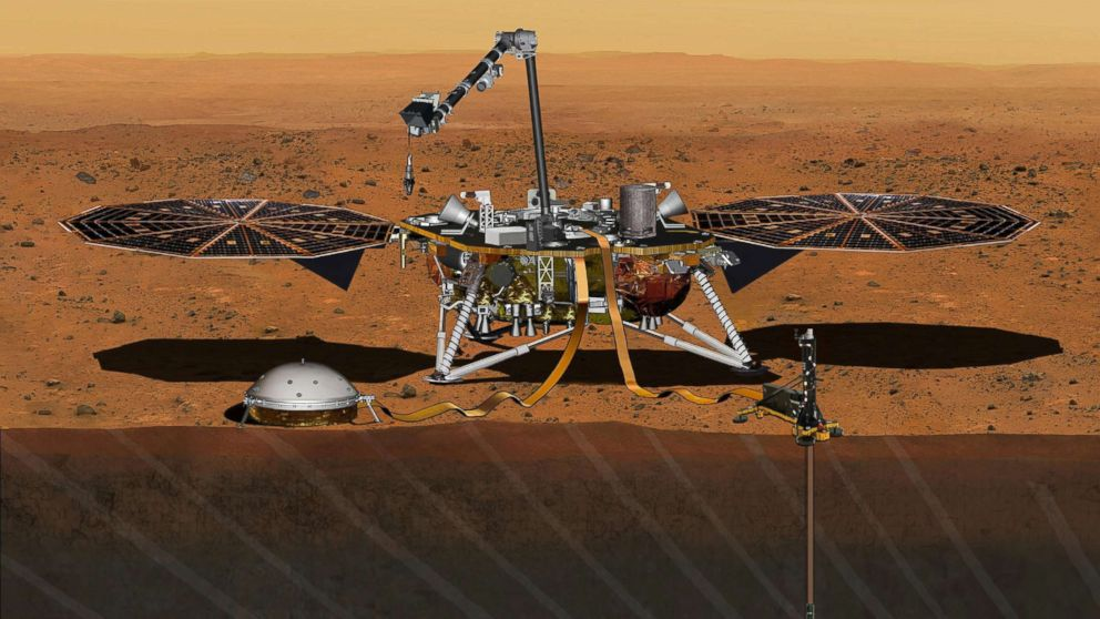The NASA Martian lander InSight dedicated to investigating the deep interior of Mars is seen in an undated artist's rendering.