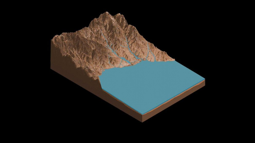 PHOTO: This animation demonstrates the salty ponds and streams that scientists think may have been left behind as Gale Crater dried out over time. The bottom of the image is the floor of Gale Crater, with the peak being the side of Mount Sharp.