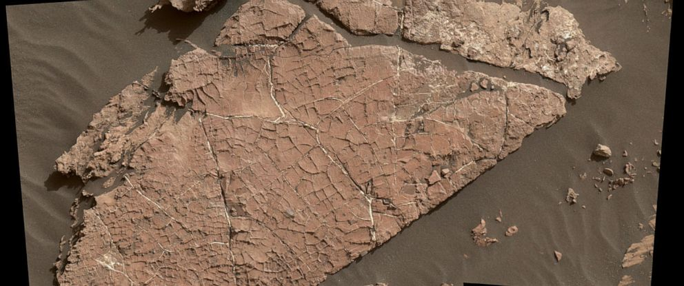 "PHOTO: The network of cracks in this Martian rock slab called ""Old Soaker"" may have formed from the drying of a mud layer more than 3 billion years ago."