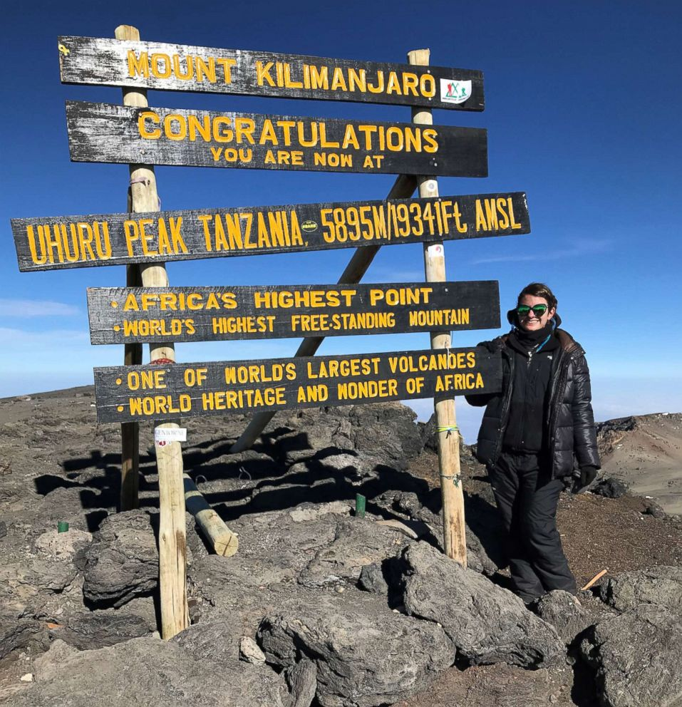 ABC News' Alexandra Svokos stands at the peak of Mount Kilimanjaro, Tanzania, in February 2019.