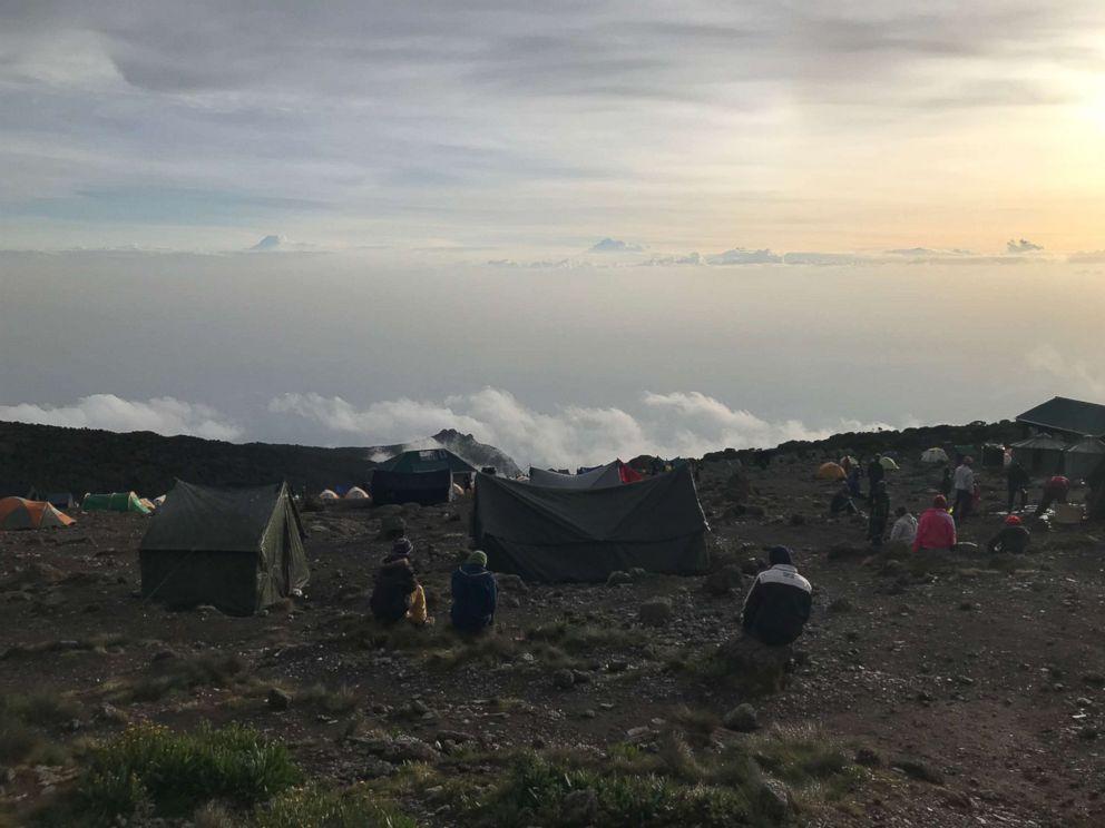 Clouds sit below Karanga Camp on Mount Kilimanjaro, Tanzania, February 2019.