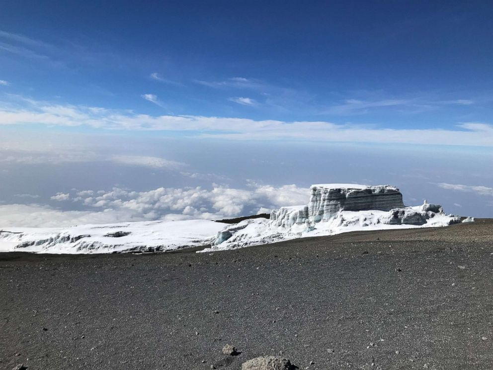 A glacier sits at the top of Mount Kilimanjaro, Tanzania, at an elevation of 5895 meters, February 2019.