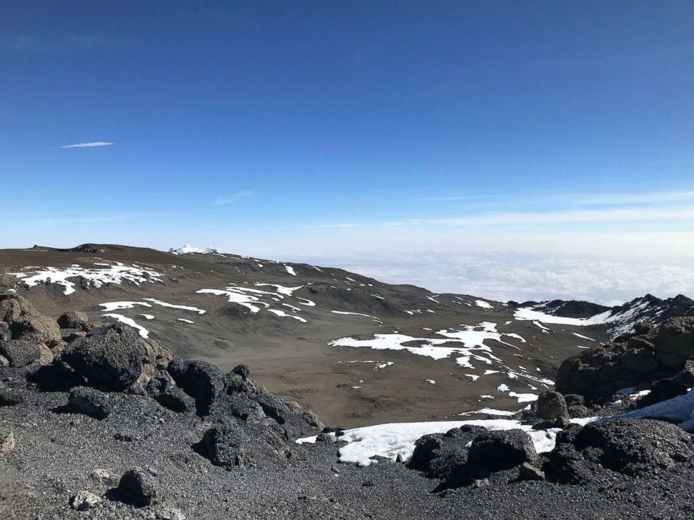 The crater at the peak of Mount Kilimanjaro, Tanzania, February 2019.