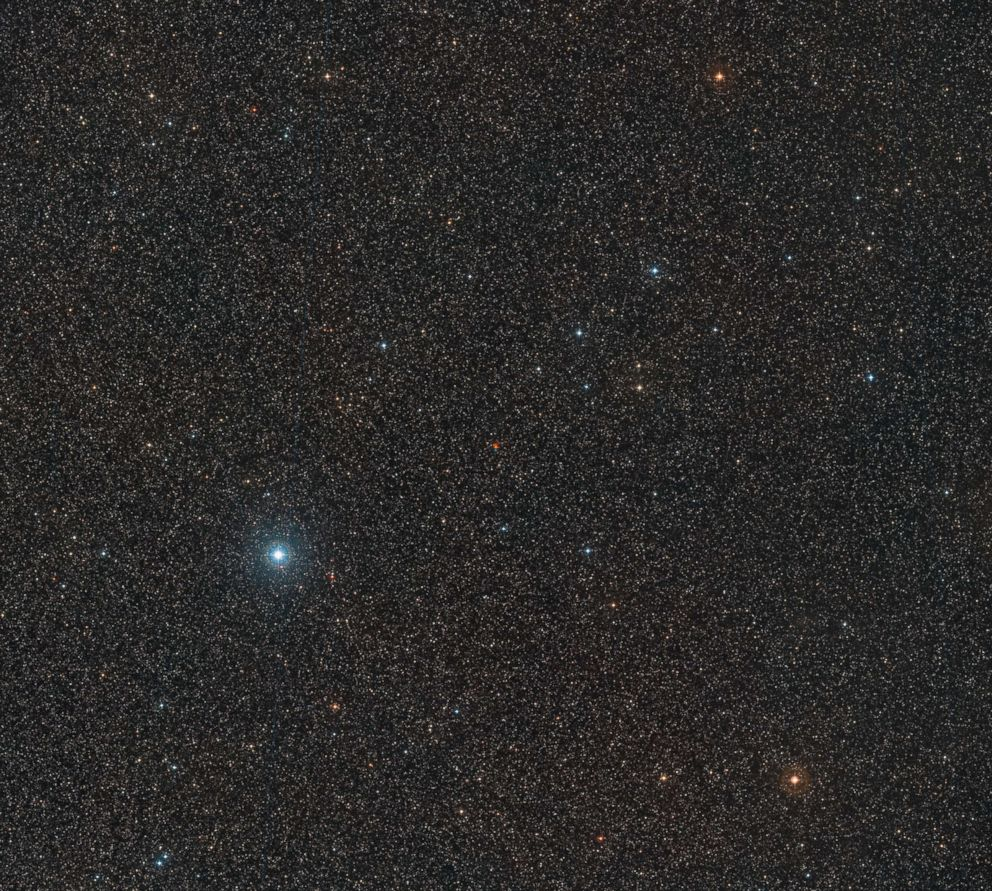 PHOTO: The center of the image shows Barnards Star captured in three different exposures.