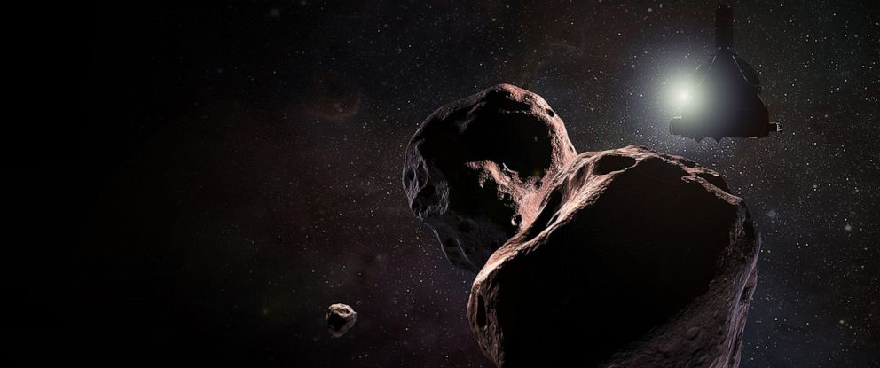 PHOTO: An artists impression of NASAs New Horizons spacecraft encountering 2014 MU69, a Kuiper Belt object that orbits one billion miles (1.6 billion kilometers) beyond Pluto, Jan. 1, 2019.