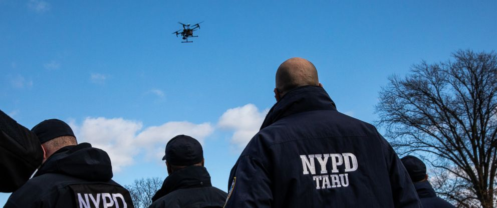 PHOTO: Licensed NYPD officers of the Technical Assistance Response Unit operate drones in the Queens borough of New York, Dec. 4, 2018.
