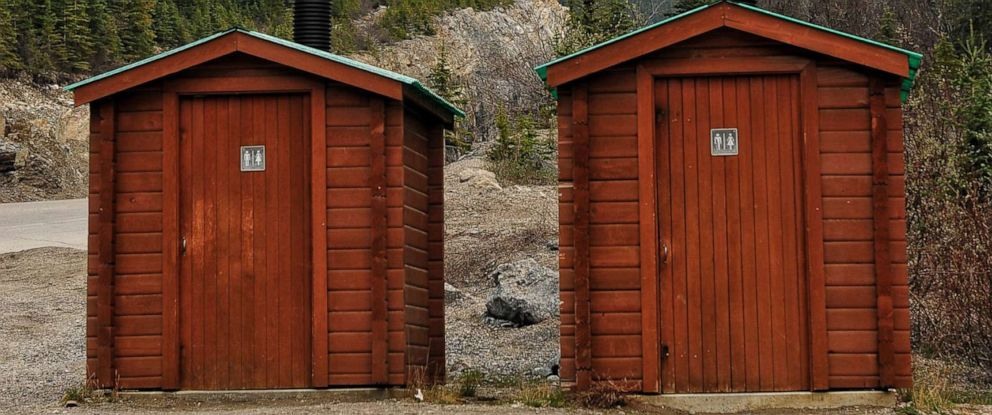 PHOTO: Outhouses near the Canadian Rockies in Jasper National Park.