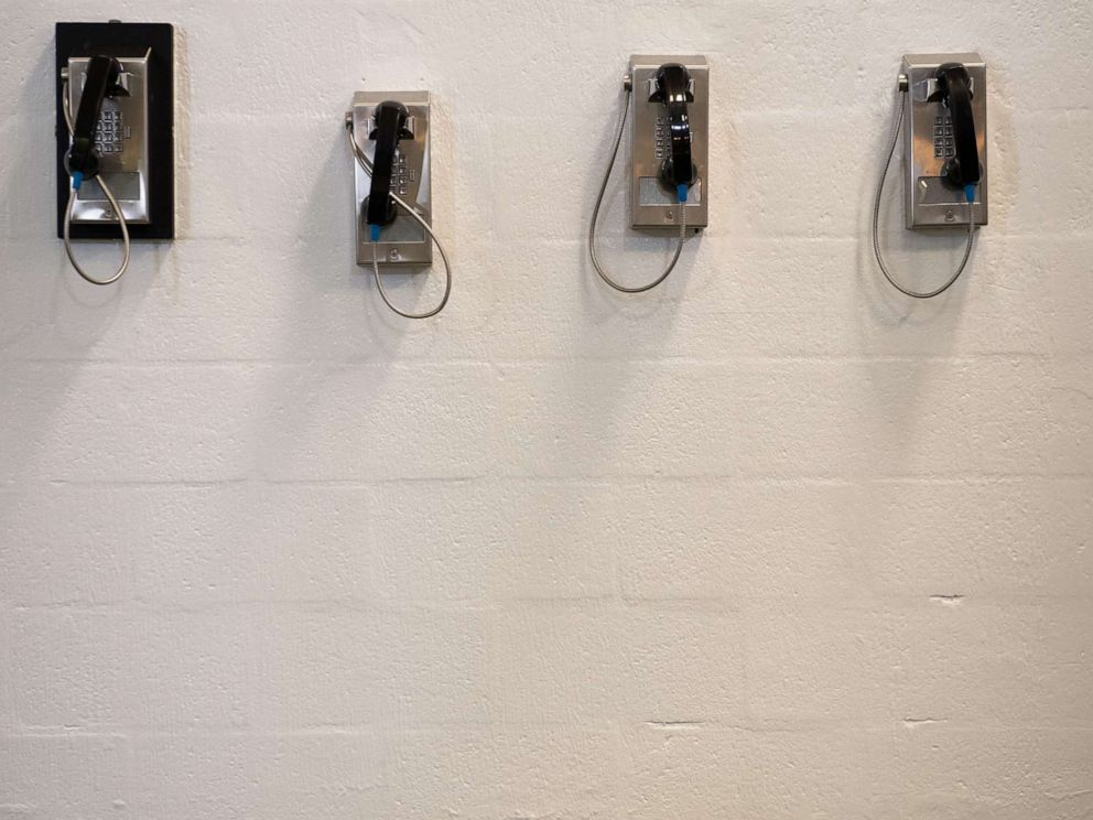 PHOTO:A bank of telephones for use by detainees is seen inside the Caroline Detention Facility in Bowling Green, Va., Aug. 13, 2018.