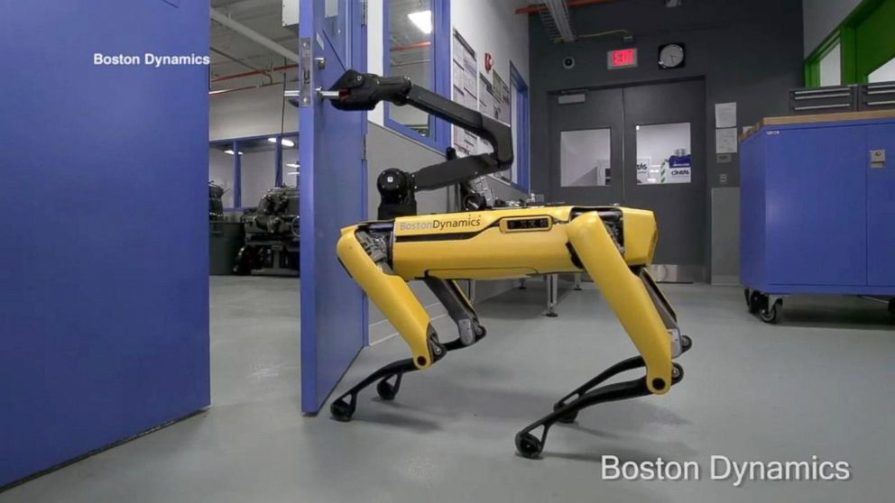 Tube video with over a million views a four-legged robot made by Boston Dynamics opens a door